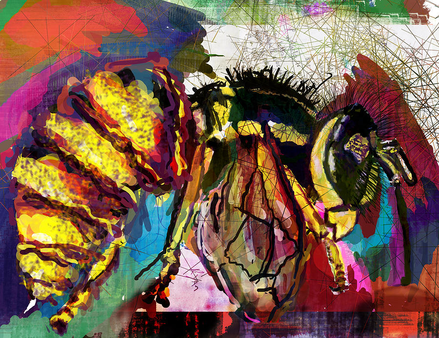 Bee Digital Art - YellowJacket in Trance by James Thomas