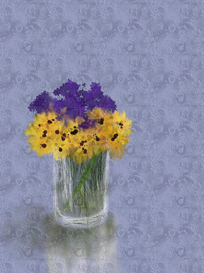 Impressionism Digital Art -  Yellowpurple Flowers by Olesya Sytnyk