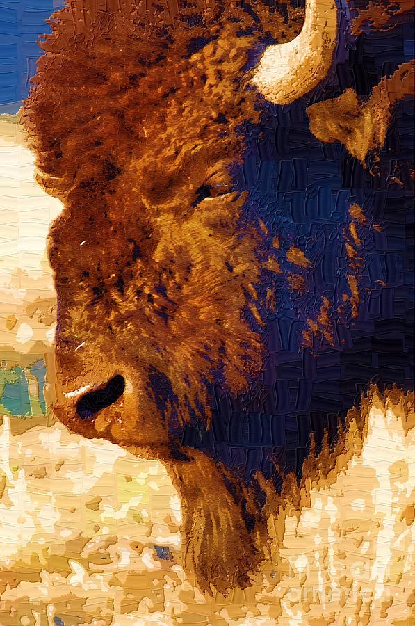 Diane Berry Painting - Yellowstone Buffalo by Diane E Berry