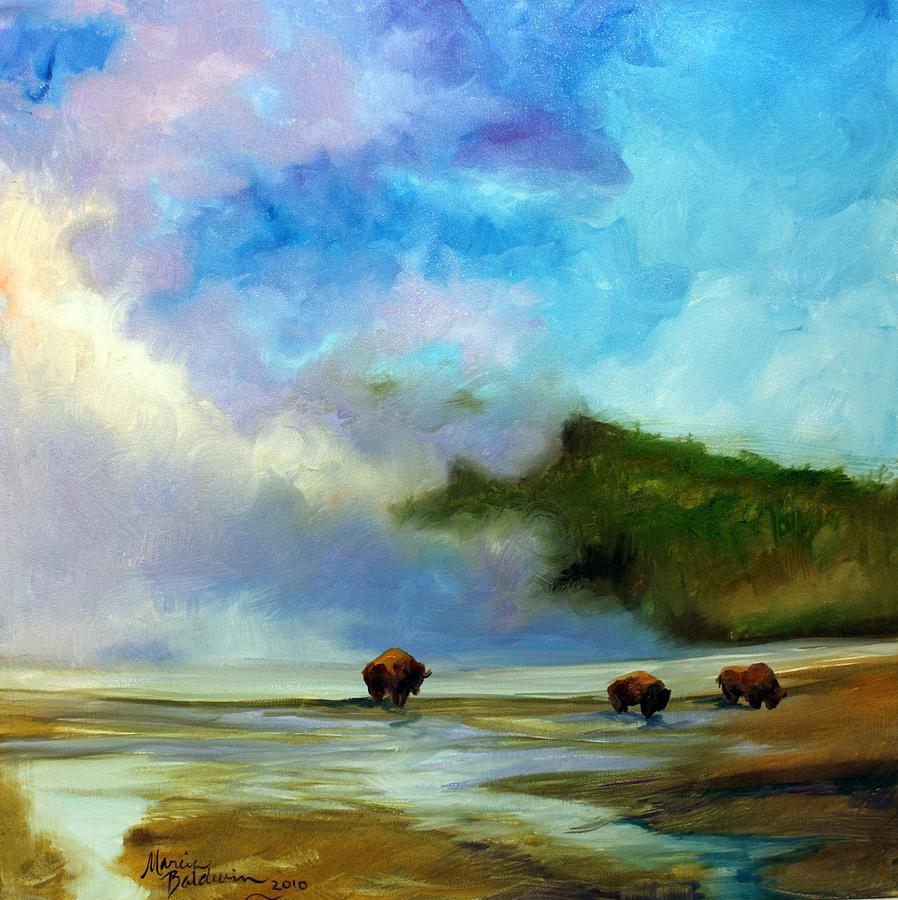 Landscape Painting - Yellowstone Buffalo by Marcia Baldwin
