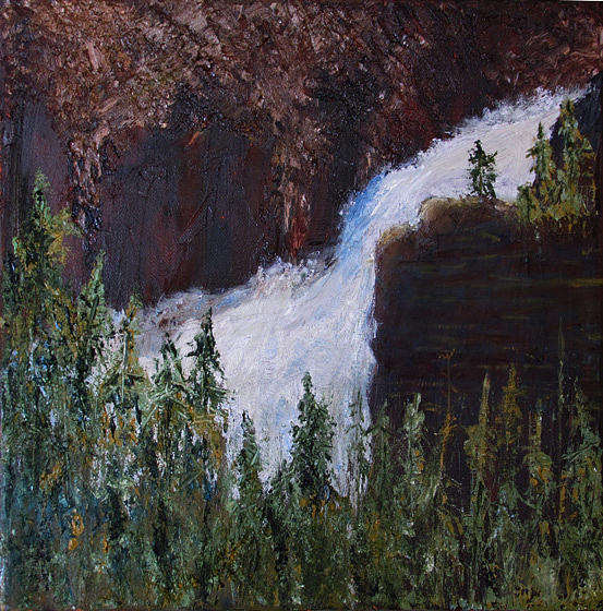 Yellowstone Painting - Yellowstone Falls by Libby  Cagle