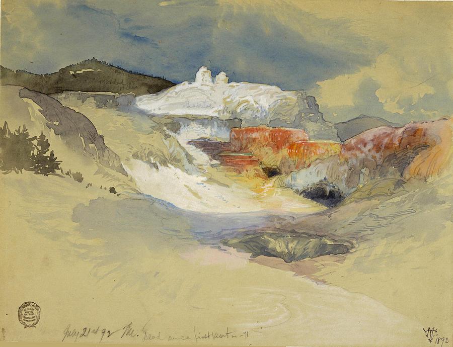 Thomas Moran Drawing - Yellowstone, Hot Springs, July 21, 1892 by Thomas Moran