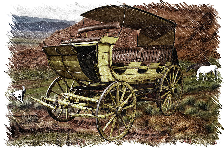 Yellowstone National Park Photograph - Yellowstone Park Stage Coach With Horses Pa 01 by Thomas Woolworth