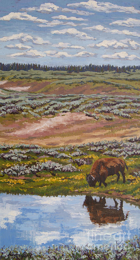 Yellowstone Painting - Yellowstone Reflections by Erin Fickert-Rowland