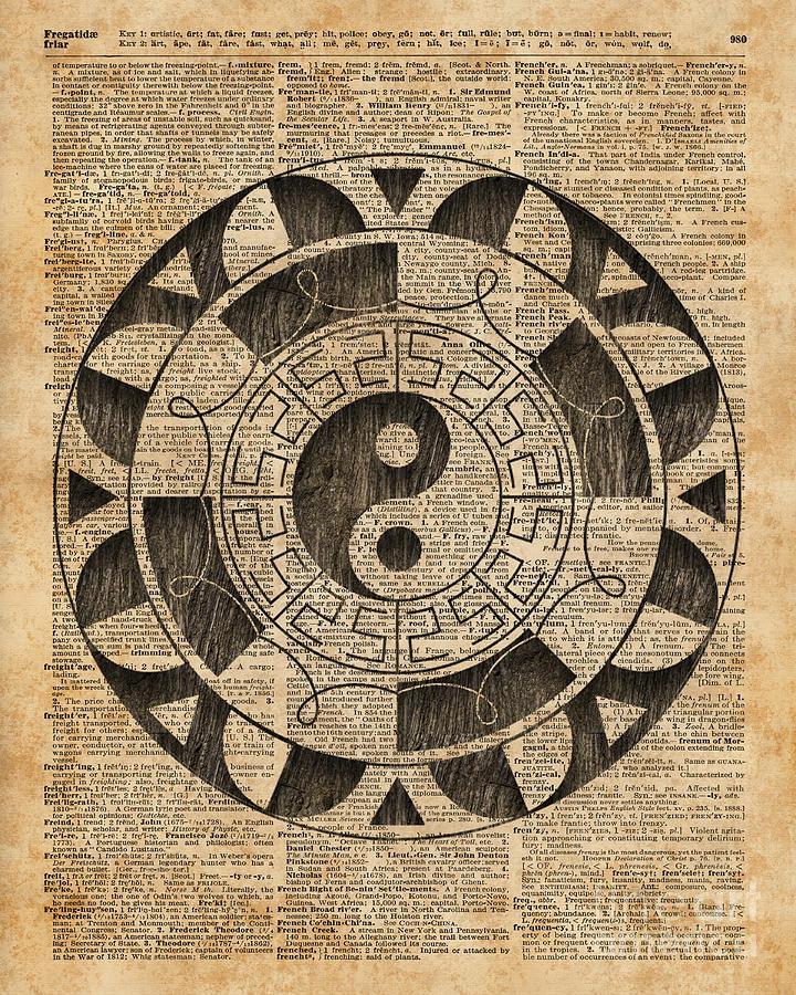 Yin And Yang Symbol Taijitu Mandala Vintage Dictionary Art Digital