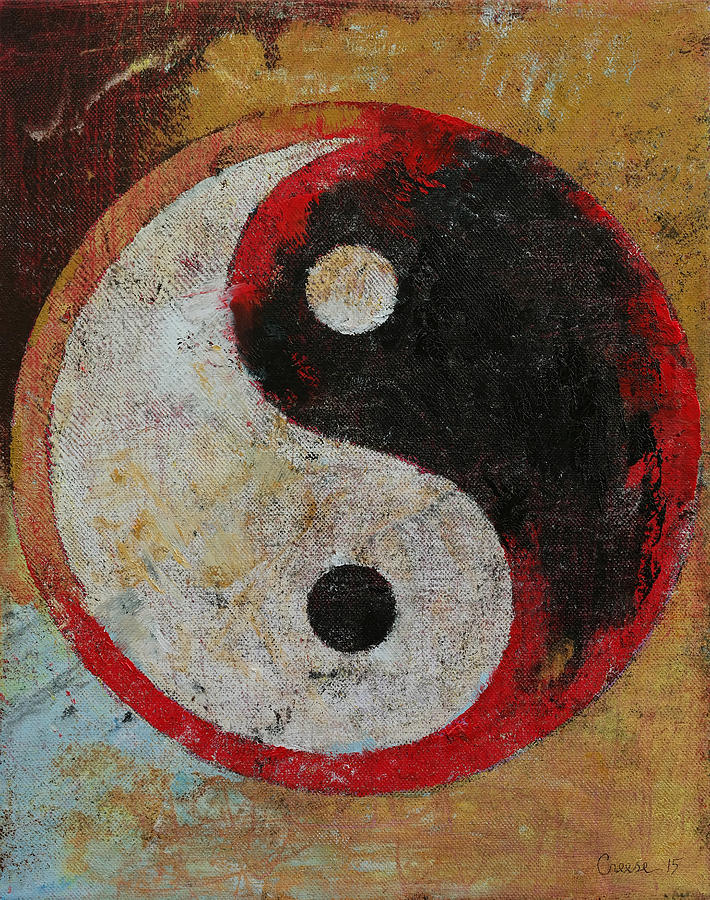 New Yin Yang Red Dragon Painting by Michael Creese SR34