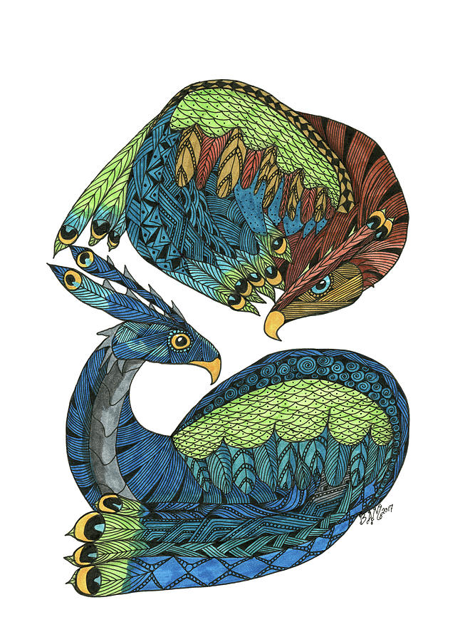 Yin Yang Dragons by Barbara McConoughey