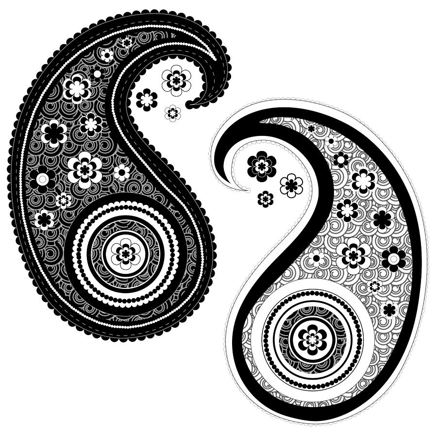 Yin yang paisley design drawing by serena king for Architecture yin yang