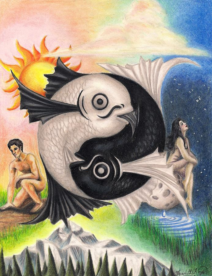 Yin-yang Drawing - Yin-yang by Scarlett Royal