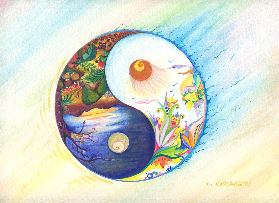 Attractive Yin Yang Spring And Autumn Painting by Gloria Di Simone PP37