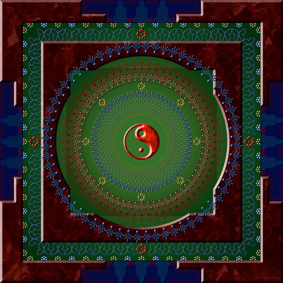 Mandala Digital Art - Yin Yang by Stephen Lucas