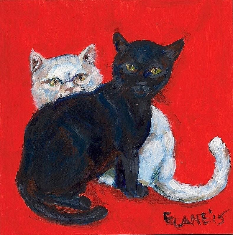 Black Cat Painting - Ying And Yang by Elizabeth Lane