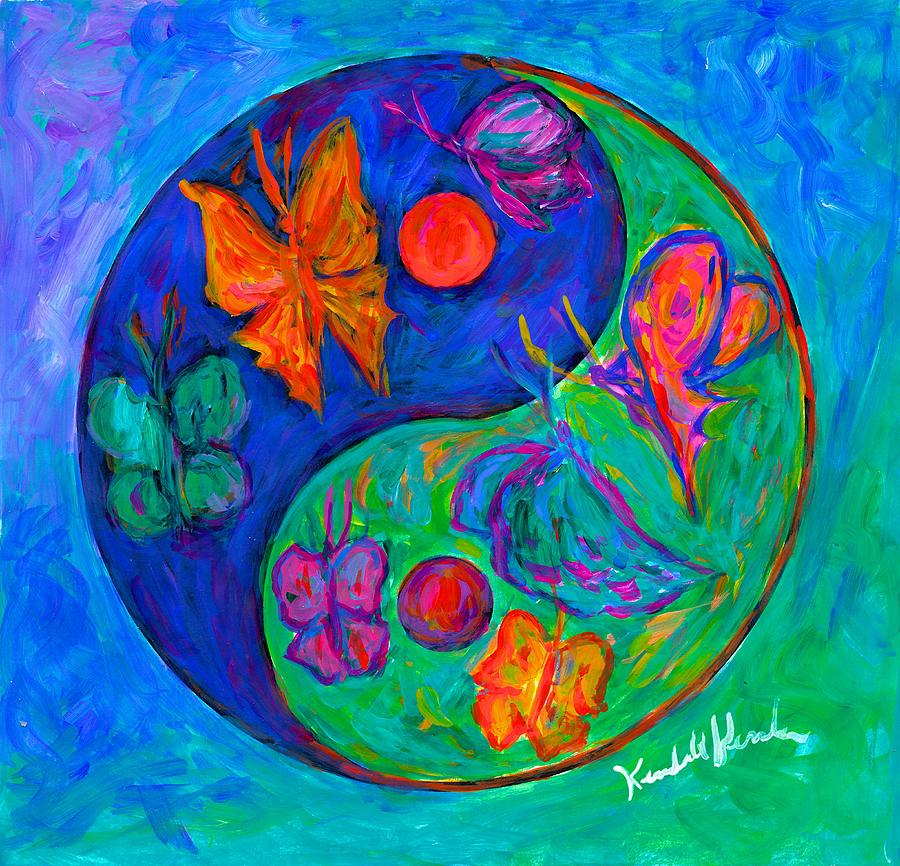 Yin Yang Paintings Painting - Ying Yang Butterfly by Kendall Kessler