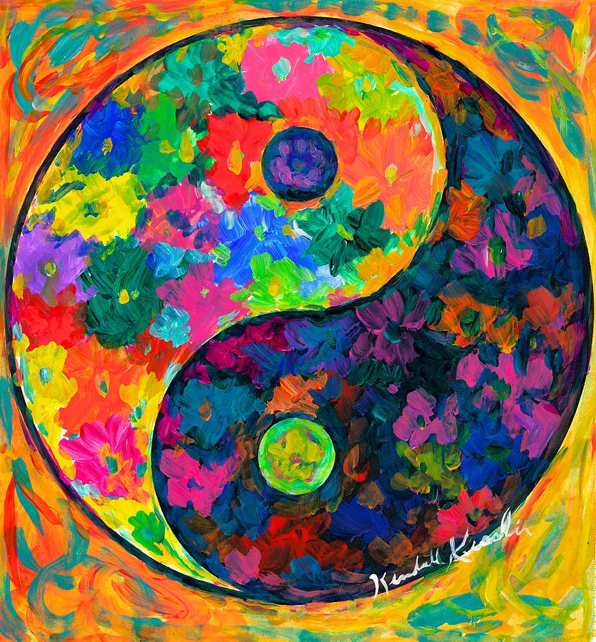 Yin Yang Paintings Painting - Yin Yang Flower by Kendall Kessler
