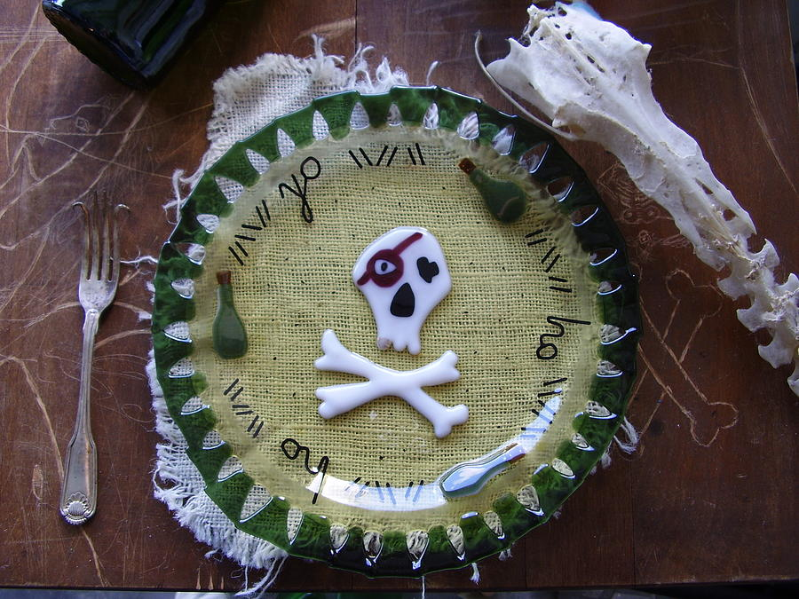 Skull Glass Art - Yo Ho Ho by Michele Palenik