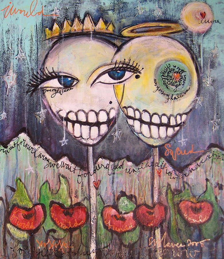 Skull Heads Painting - Yo Soy La Luna by Laurie Maves ART