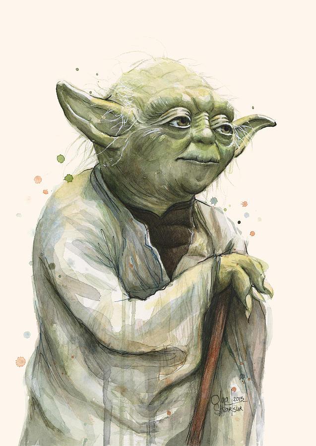 Yoda Painting - Yoda Portrait by Olga Shvartsur