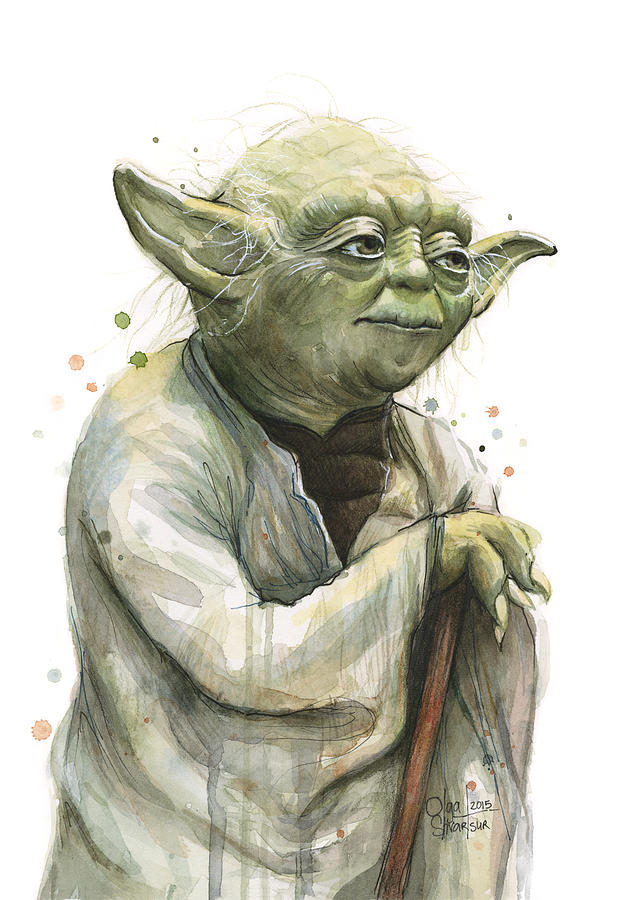 Yoda Painting - Yoda Watercolor by Olga Shvartsur