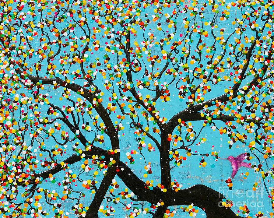 Hummingbird Painting - Yokina Hana by Natalie Briney