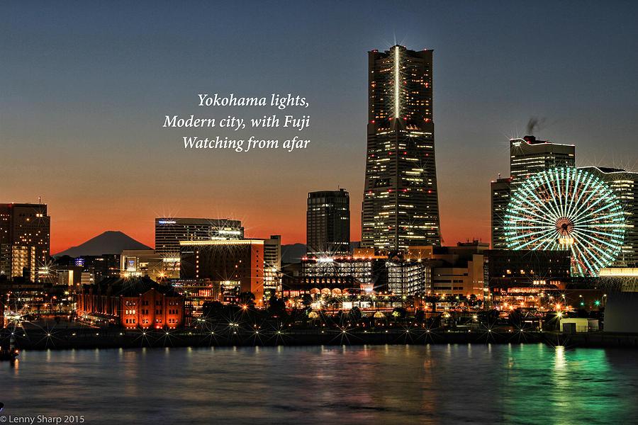 Yokohama Photograph - Yokohama At Dusk With Haiku by Leonard Sharp