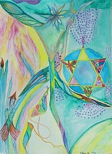 Adam Painting - Yom Shi Shi by Joanne Farber