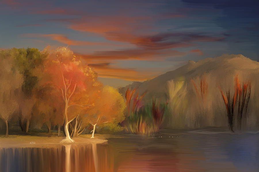 Yorba Linda Lake By Anaheim Hills Painting