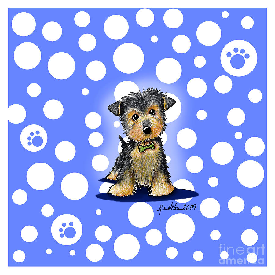 Dog Mixed Media - Yorkie Boy On Blue by Kim Niles