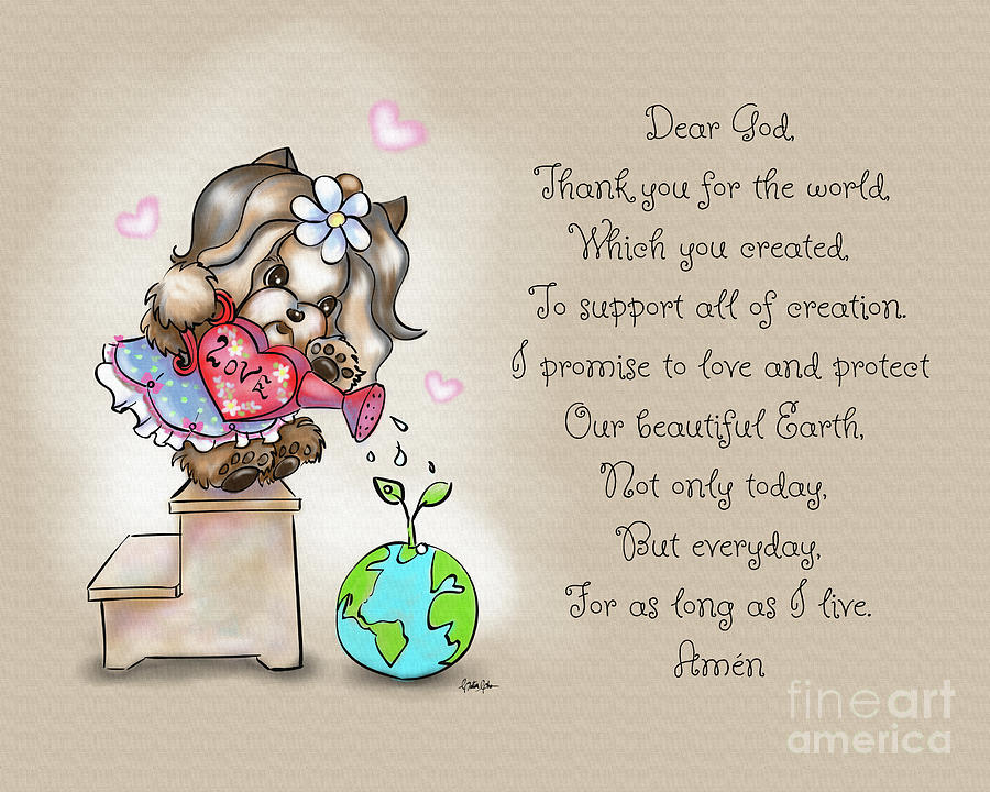 Yorkie Earth Day Prayer by Catia Lee