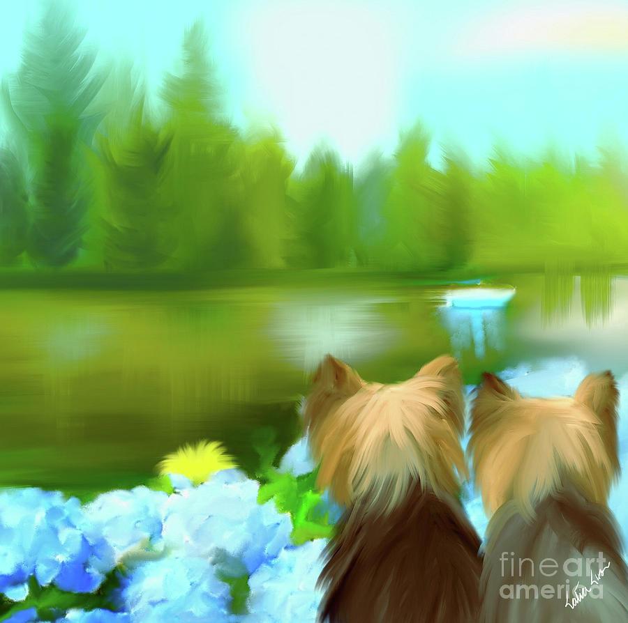 Yorkies at the Lago Negro by Catia Lee