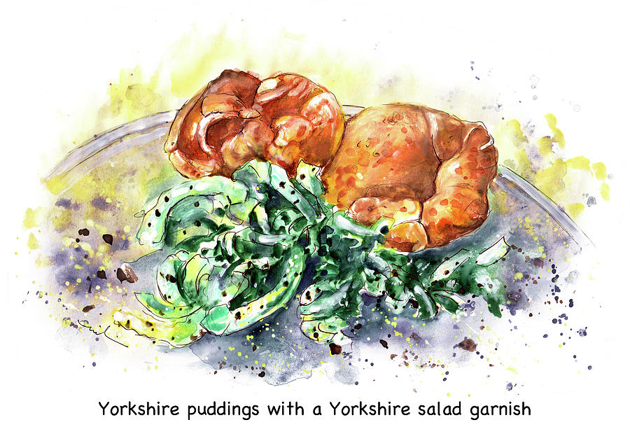 Food Painting - Yorkshire Puddings With Yorkshire Salad Garnish by Miki De Goodaboom