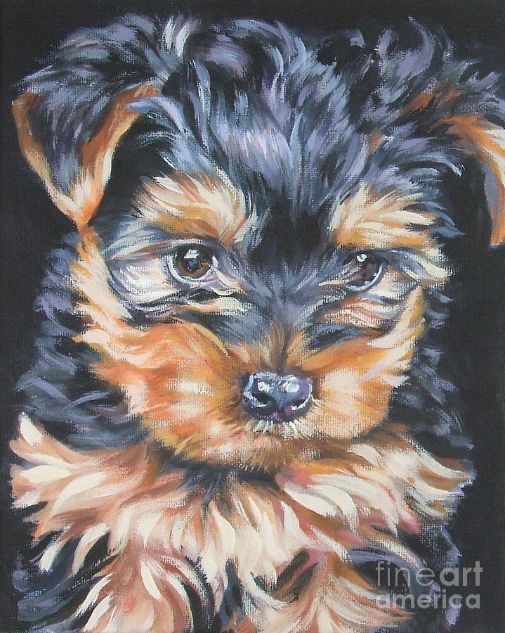 Yorkshire Terrier Pup Painting By Lee Ann Shepard