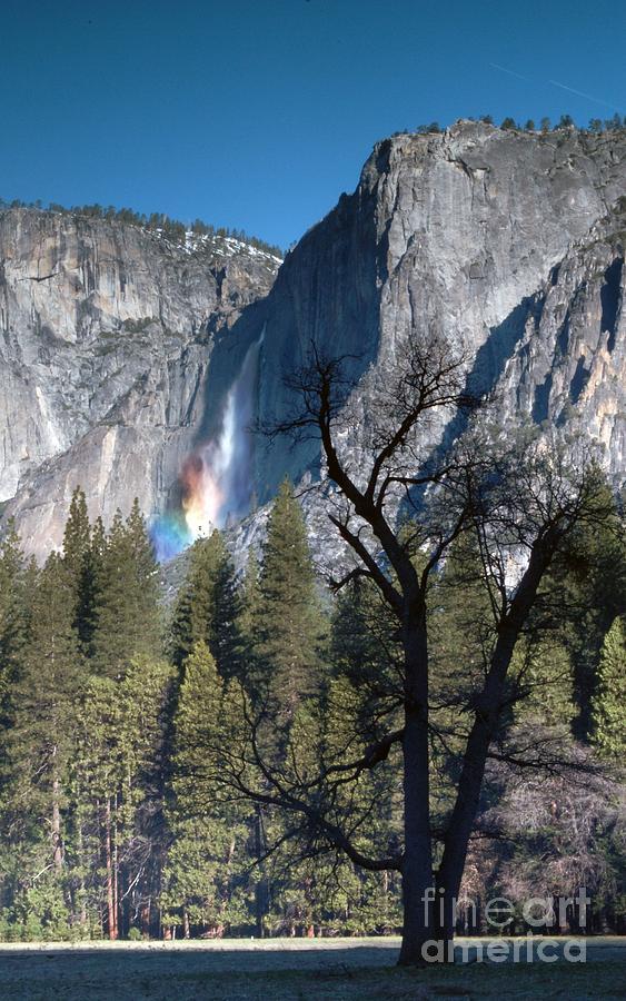 Landscape Photograph - Yosemite Falls Rainbow 3 by Richard Verkuyl