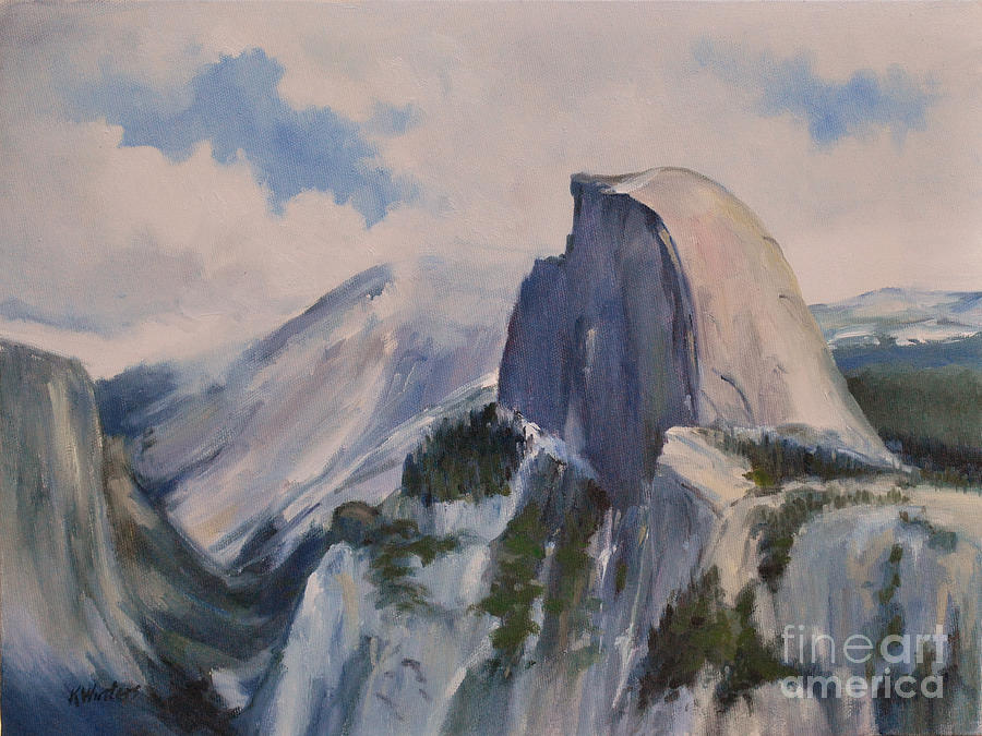 Yosemite Painting - Yosemite Half Dome From Glacier Point by Karen Winters