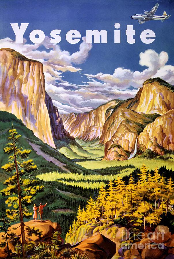 Yosemite Painting - Yosemite National Park Vintage Poster by Vintage Treasure