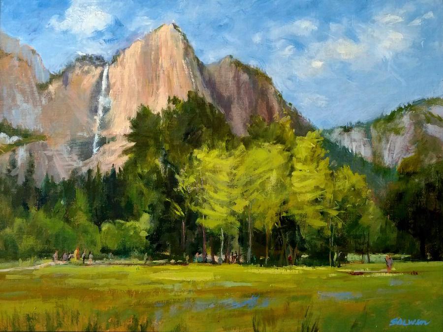California Painting - Yosemite - Ribbon Falls by Peter Salwen