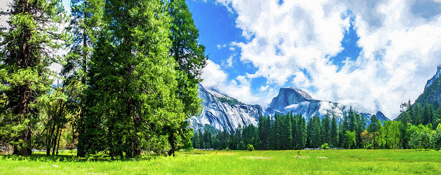 Yosemite Valley and Half Dome Digital Painting by Randy Herring