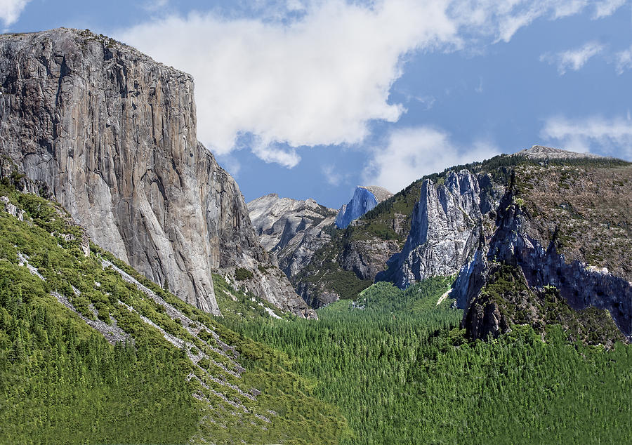 Yosemite Valley Showing El Capitan Half Dome and the Three Brothers Formation by William Bitman