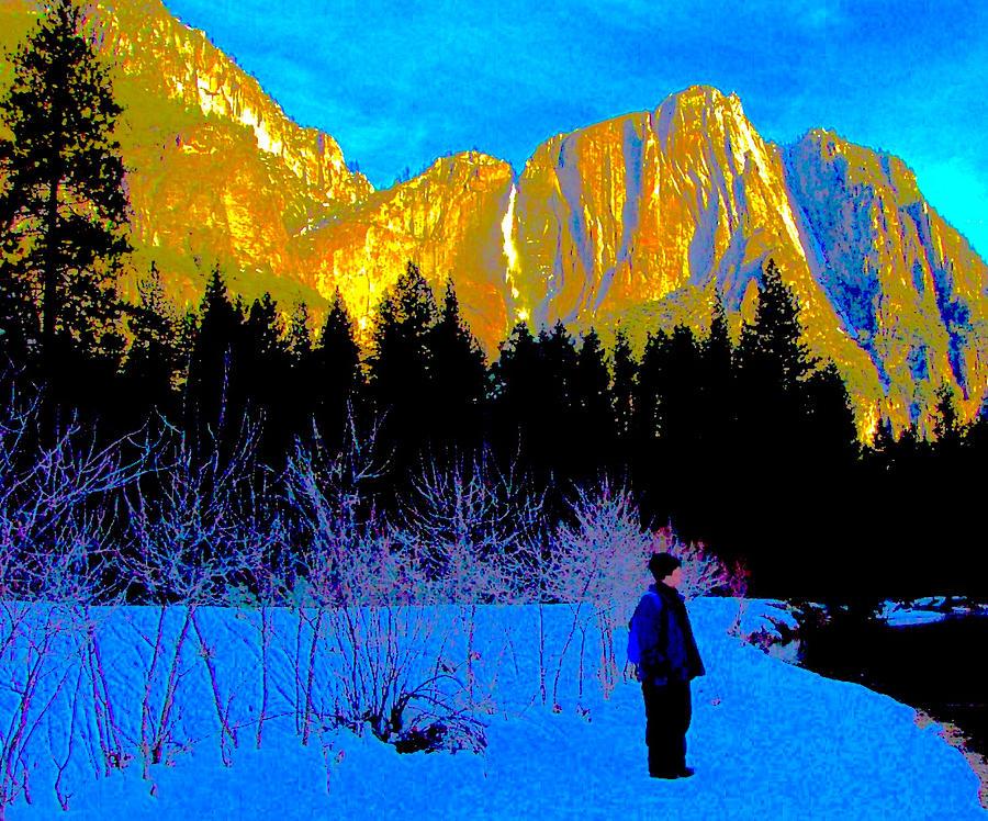 Blue Photograph - Yosemite Valley Winter Walk by Scott L Holtslander