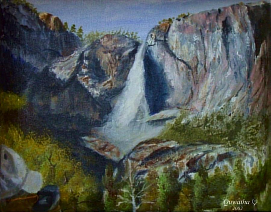 Waterfall Painting - Yosemite Waterfall by Quwatha Valentine