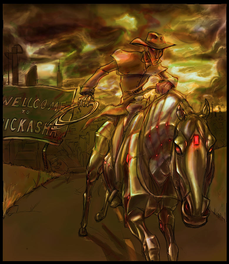 Horse Digital Art - You Are Now Leaving City Limits by Jamie Lindenmeier