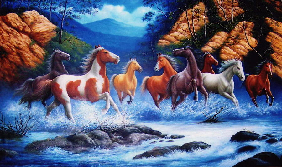 Horse Painting - You Can Lead A Horse To Water But If You Can Get Him To Float On His Back  by Yuki Othsuka