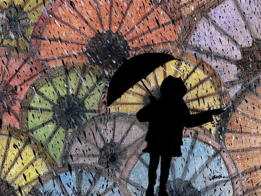 Umbrella Painting - You Can Stand Under My Umbrella by Sowjanya Sreeram