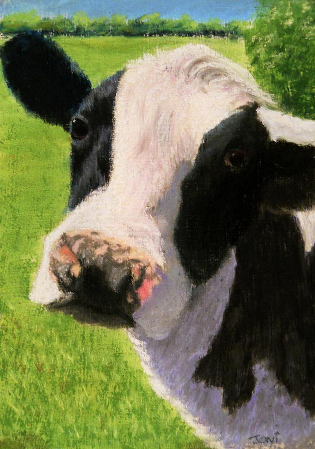 Cow Pastel - You Looking At Me Cow Painting by Joan Swanson