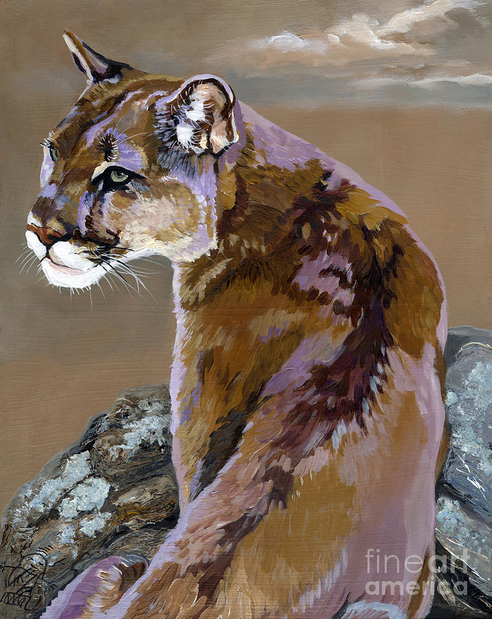 Cougar Painting - You Talking To Me by J W Baker
