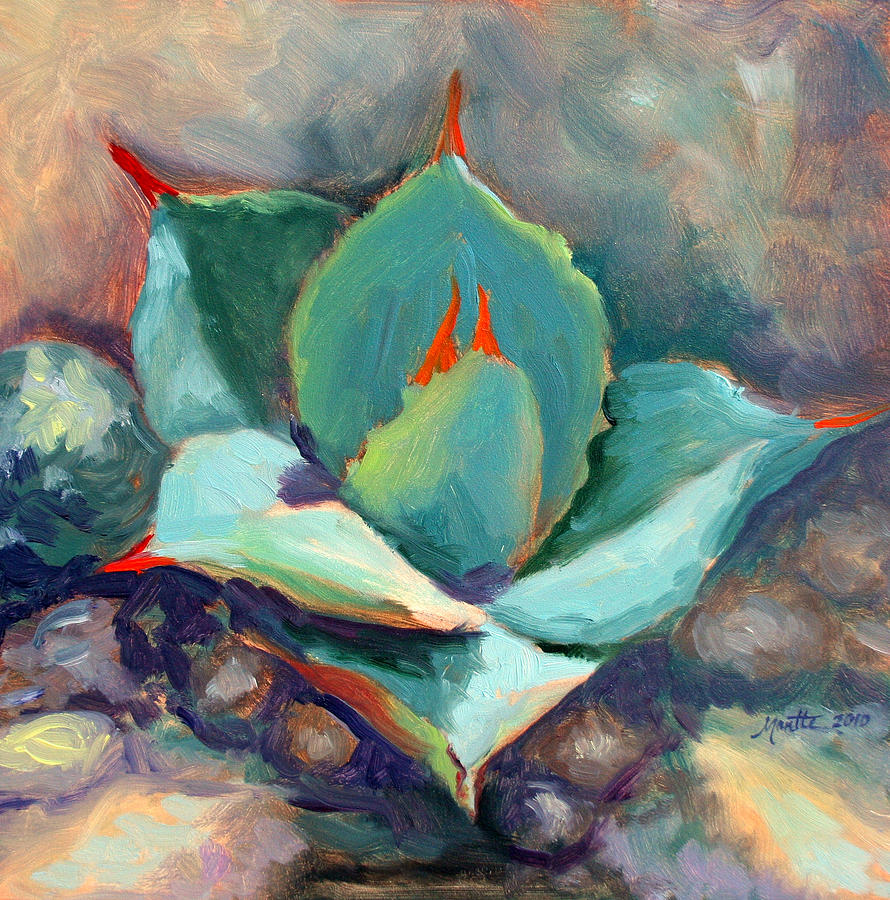 Plant Painting - Young Agave by Athena Mantle