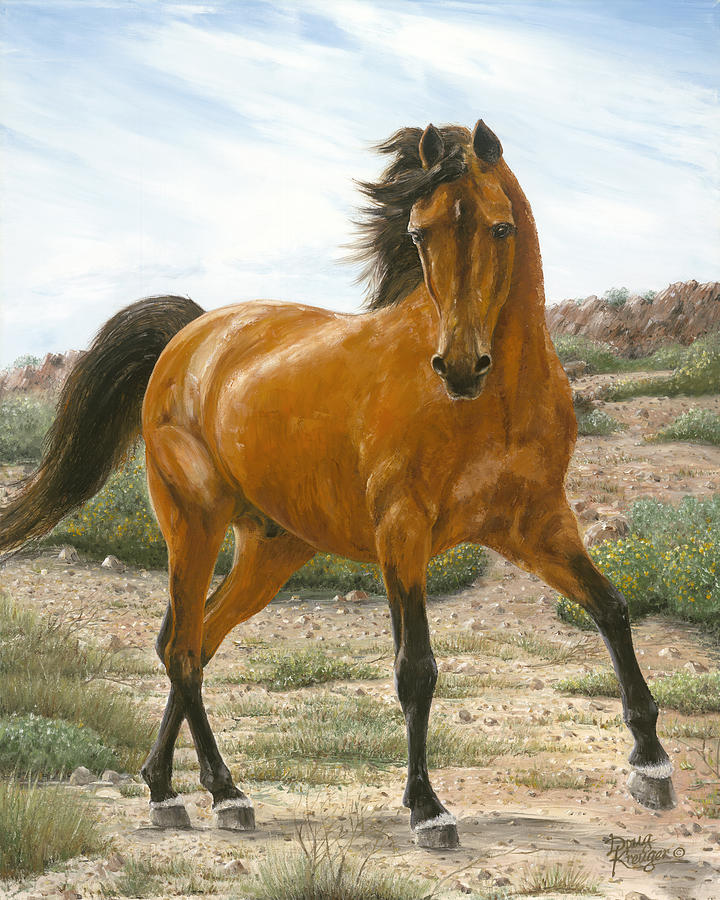 Horse Painting - Young And Restless by Doug Kreuger