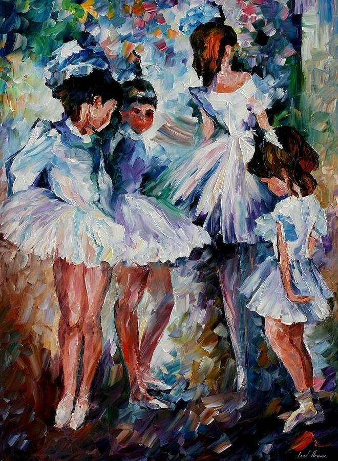 Afremov Painting - Young Ballerinas by Leonid Afremov