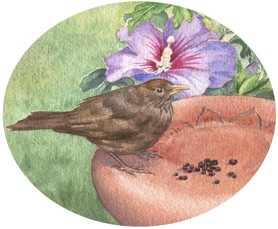 Blackbird Painting - Young Blackbird After Raisins by Maureen Carter