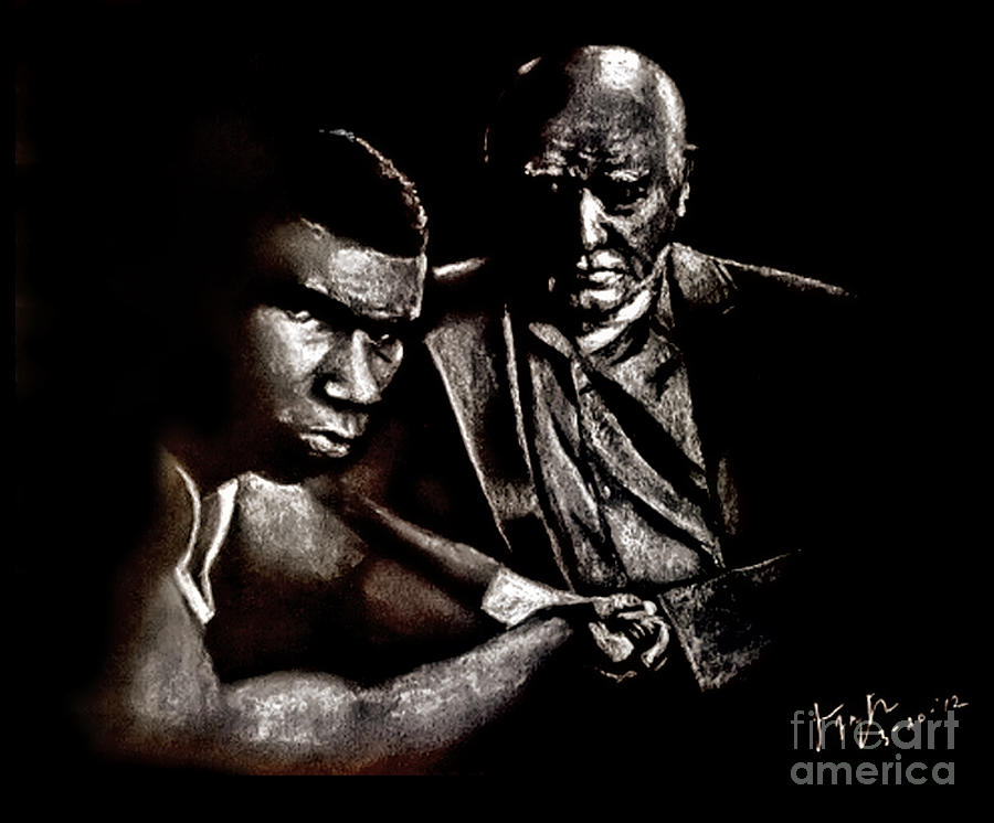 World Champion Drawing - Young Boxer And Soon To Be World Champion Mike Tyson And Trainer Cus Damato by Jim Fitzpatrick