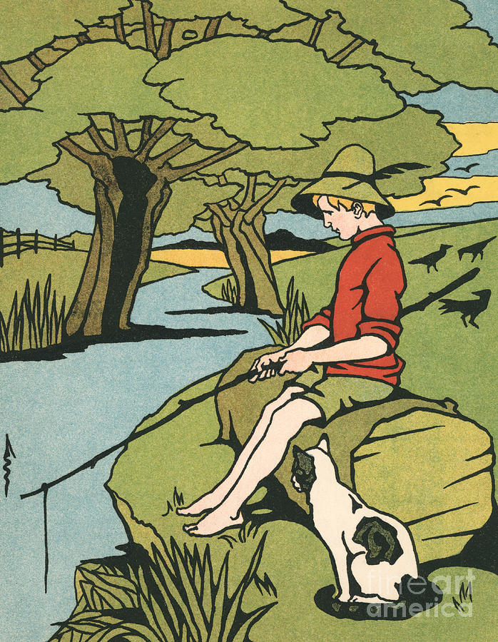 Vintage Painting - Young Boy Sitting On A Log Fishing In A Small River In The Country With His Cat by American School